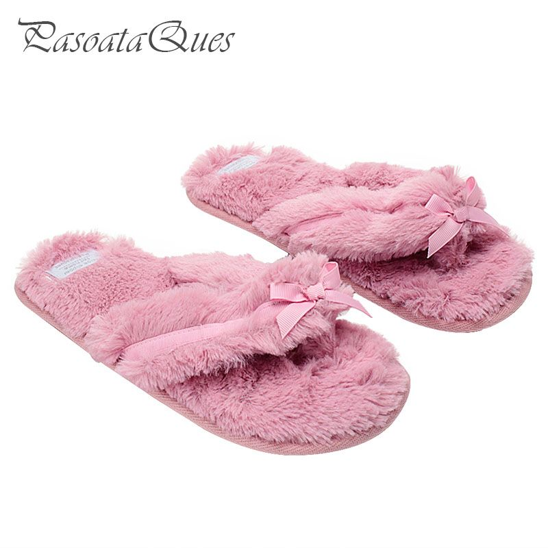 Cotton Bow Women Flip Flops Summer Home House Shoes Breathable Indoor Spring Slippers Asspfct057 Pasoataques Brand