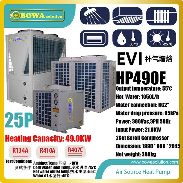 50KW or 170,000BTU -25'C  air source water heat pump heater  for villa and hotel , please consult shipping costs with seller