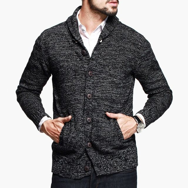 Korean New Fashion Autumn Winter Men Males Gray Knitted Cardigans Sweater Coat Slim Long Sleeve Jacket Outerwears Y1763