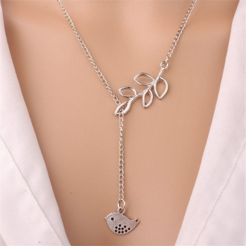 Hollow Leaf Bird Pendant Necklaces For Women Girls Gold Silver Color Long Chain Female Necklace Pendants Fashion Jewelry Collier