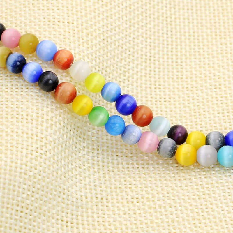 Mixed Color 5AAA+ Opal Natural Round Cat Eye Beads for Making Jewelry Handmade DIY Wholesale 4/6/8/10/12MM
