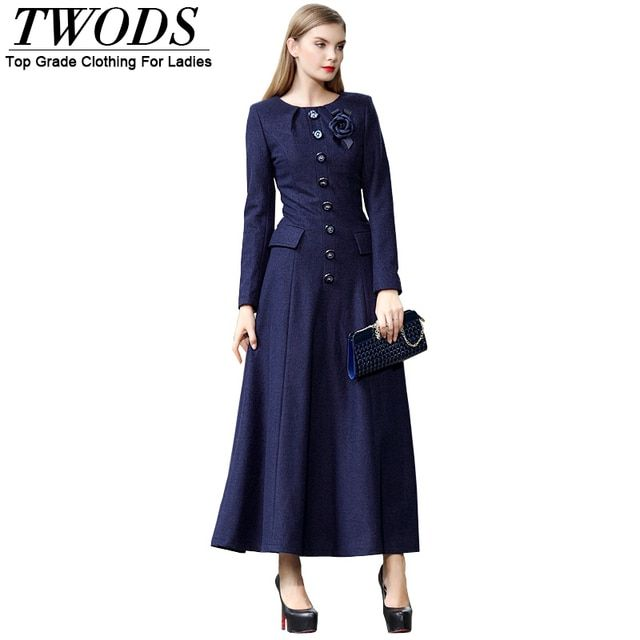 Twods Vintage Women Winter Maxi Long Wool dress Slim Fit Long Sleeve Muslim Maxi Dresses Plus Size Clothing With Brooch