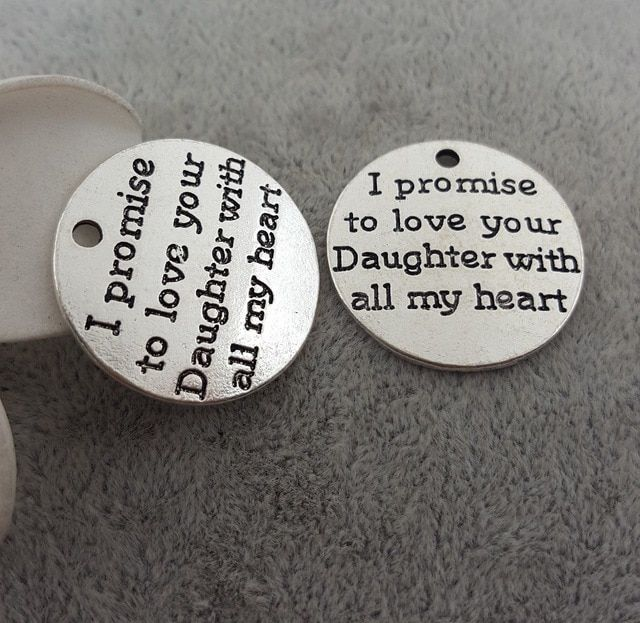 20pcs/lot 25mm Ancient silver alloy metal lettering I promise to love your Daughter with all my heart charm pendant for bracelet