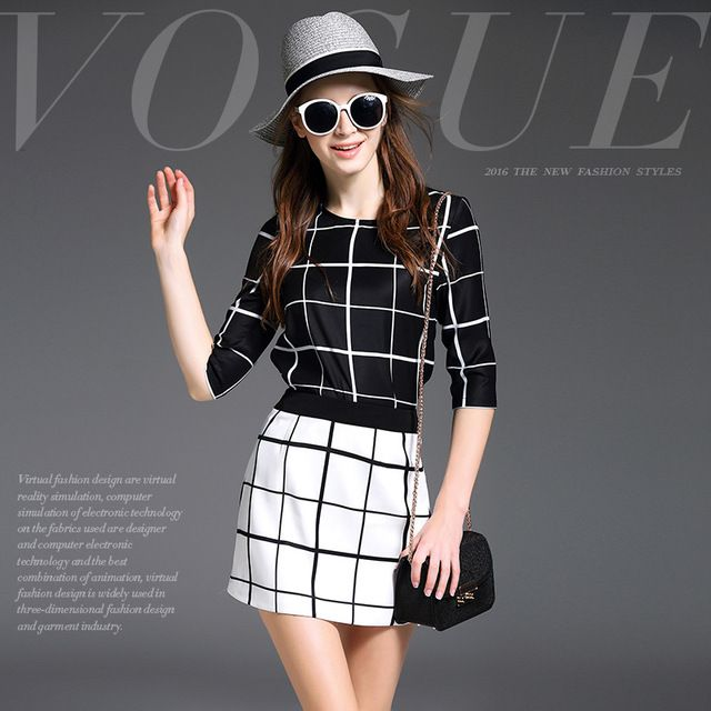 High Quality 2016 Women Summer Black And White 2 Pieces Plaid Blouse Shirt And Mini Skirt Set Casual Fashion Spring Clothes S63