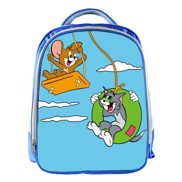 New Cartoon 13 Inch Blue Backpack Tom and Jerry School Bags For Little Cute Kids Bag Child School Backpack For Baby