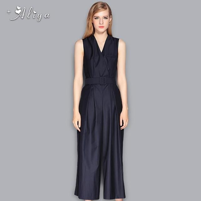 Aliya spring autumn Hot Sale Casual Fashion brand V Neck Belt Embellished rompers overalls Black jumpsuit plus size For Women