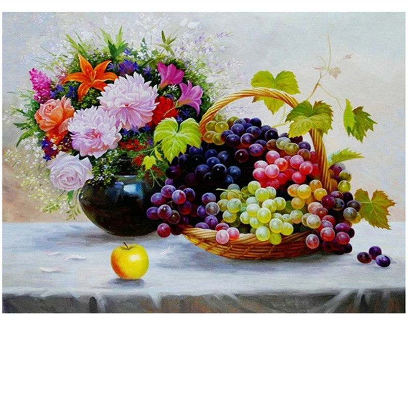 New Arrival Diamond Embroidery fruit and flowers Diy Diamond Paintings Full Mosaic Picture grape Pattern Cross Stitch Rhinestone
