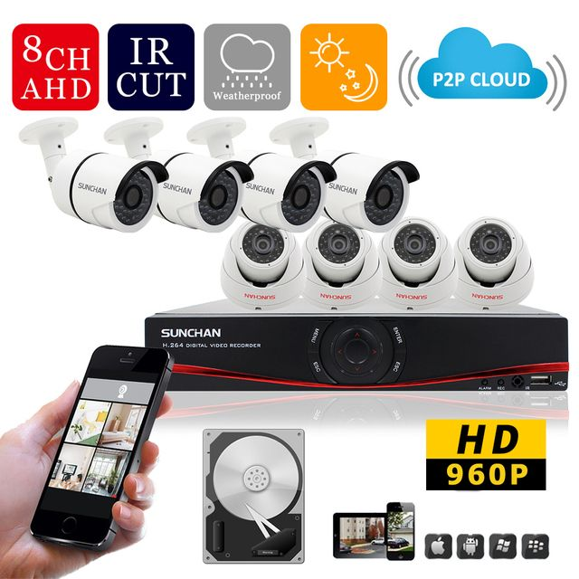 SUNCHAN  8CH Channel AHD-M DVR Kit H.264 DVR HD 1.3MP 1280*960 Day Night Vision 36pcs IR LEDs AHD Camera CCTV Video System 1TB