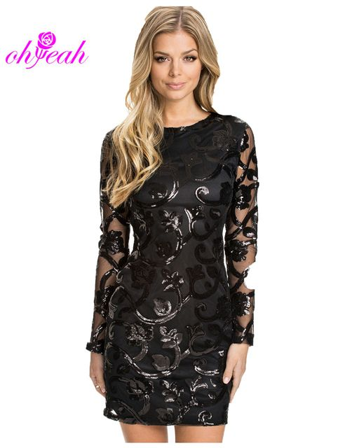 R70205 Brocade Sequin Fashion Dress 2015 Long sleeve Sexy leather decorated dress ohyeah Black women Bodycon dress for women