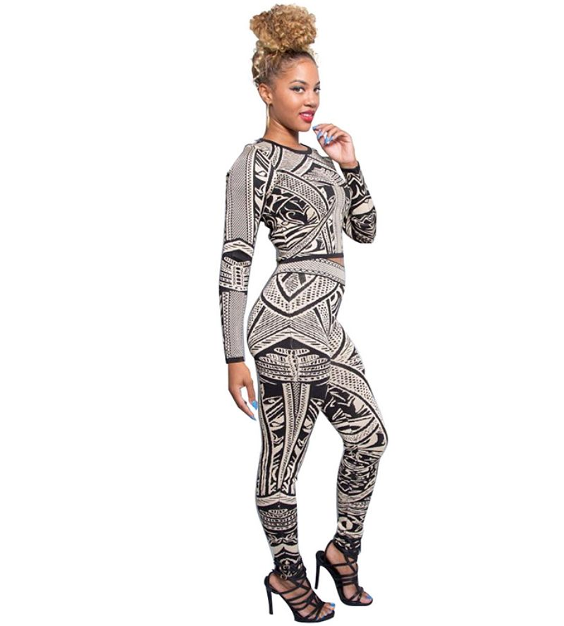 2017 Autumn Black And White Floral Print Bandage Jumpsuit Crop Top And Pants Two Piece Set Women Bodycon Bodysuit Sexy