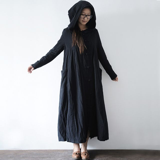 Winter Dress Open Stitch Loose Waist Cotton Linen Black Cloaks Hood and Capes  for Women Black Long Outwear Robe Longu