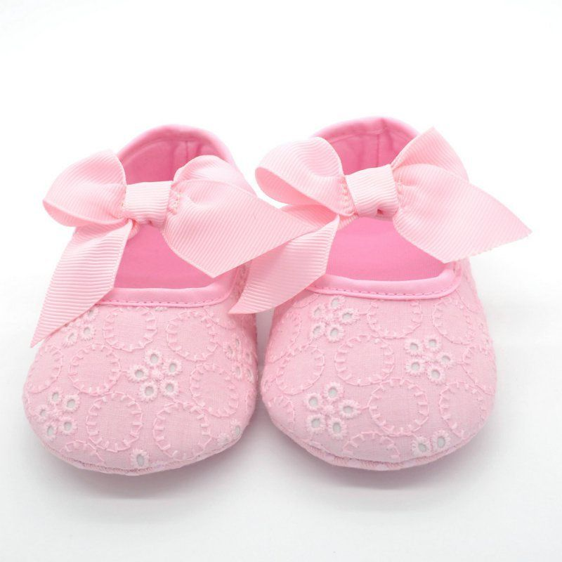 Lovely Jelly Color Toddler Newborn Baby Cotton Cloth Butterfly-knot Floral Ribbon Prewalker Shoes 0-18 Months