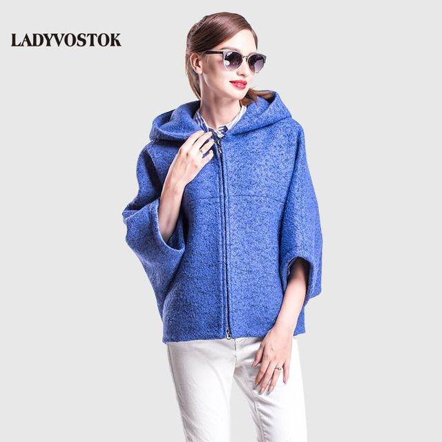 LADYVOSTOK autumn winter Casual Short bat sleeve hooded zipper Coat Overcoat  ladies knitwear Free Women Jacket GY842-3
