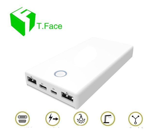 Two-way Quick Charge 3.0 Power Bank 20000mAh Portable Charger External Battery Pack with Dual Input and putput with type C cable