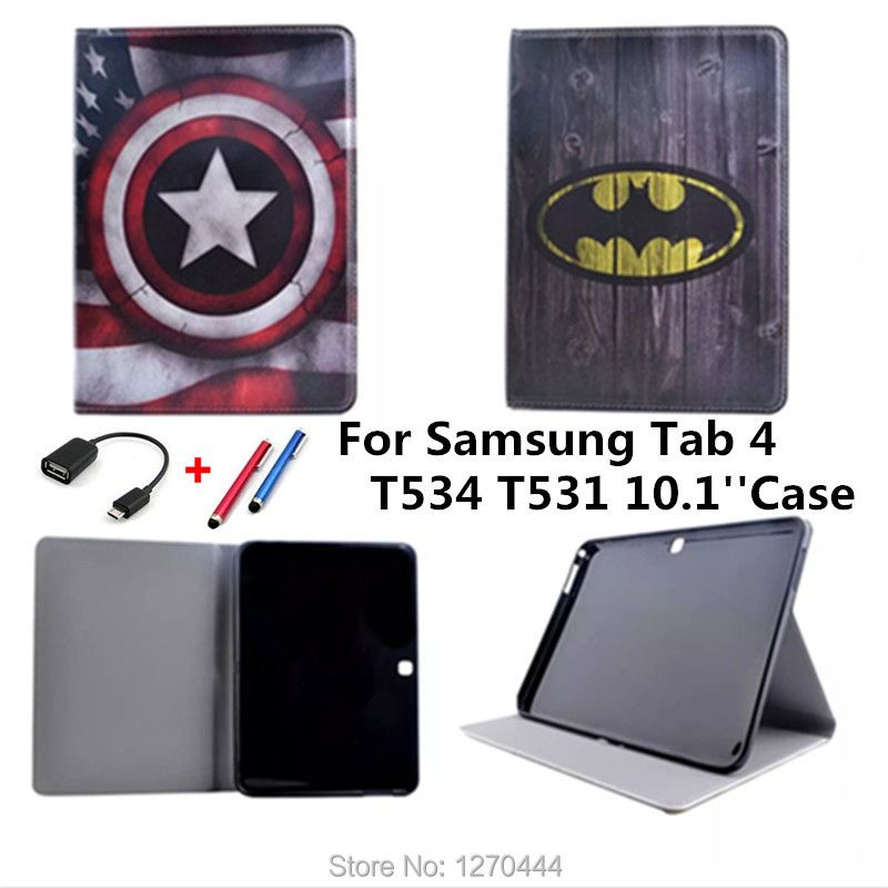 10.1 case Stand Leather Cartoon cute BOOK Cover for Samsung Galaxy Tab 4 10.1 T530 T531 T535 Tablets accessories+OTG+Pen+Film