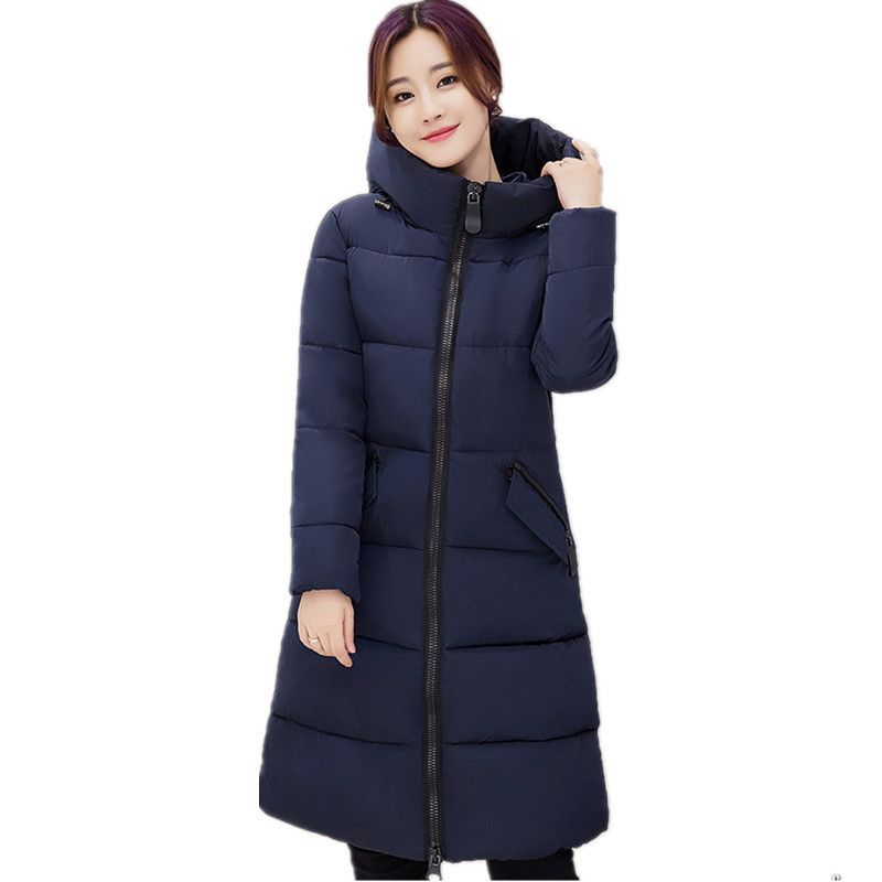 Down Cotton Women Coat Thick Padded Winter Jacket Women Hooded Parka Female Winter Jacket Fashion Long Coat Jacket TT1789