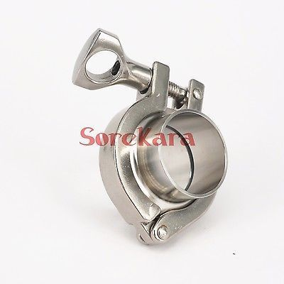 A Set 45mm O/D Sanitary Tri Clamp Weld Ferrule + Tri Clamp + Silicon Gasket 305 Stainless Steel