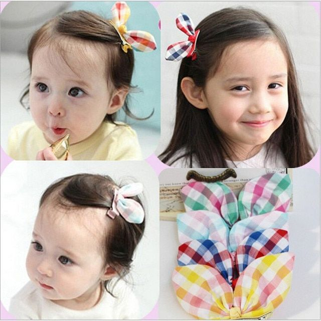 1 PC 4 Colors New 2018 Handmade Plaid Rabbit Ear Kids Accessories Children Accessories Baby Girl Hair Clip