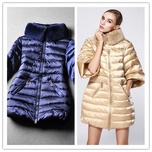 Winter fashion high quality fashion medium-long down coat outerwear overcoat half sleeve rabbit fur ladies jacket