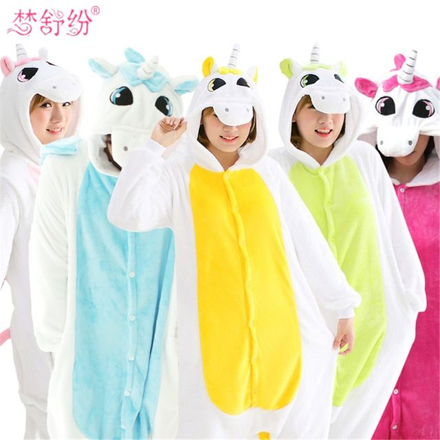 Women for Kigurumi Unicorn Pajamas sets Women Flannel animal Pajamas kits for kingurumi Sleepwear Winter night-suit set pajamas