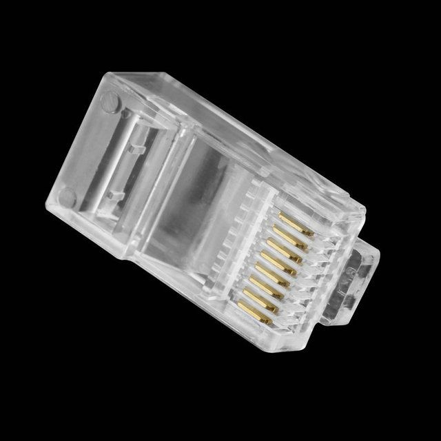 40pcs Crystal 8Pin RJ45 Modular Plug Network Cable Connector Adapter for cat5e Ethernet Cable Plugs Heads