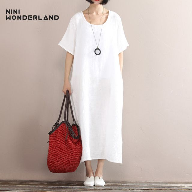 NINI WONDERLAND Solid Color Cotton Linen Long Dress Summer Women Loose Waist Casual Dress Gown Short Sleeve Large Size Clothes