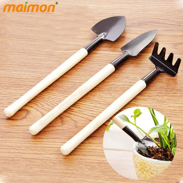 3pcs/set Home Office DIY Mini Garden Tools Set Wooden Handle Metal Hand Gardening Rake Spade Shovel Kids Planting Helper