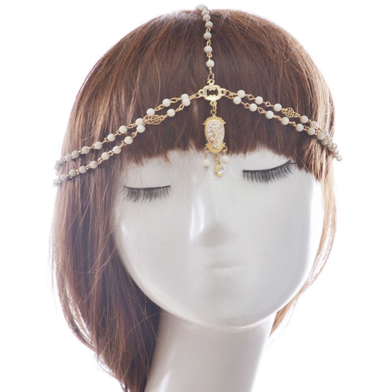 Bride Hair Decoration Women Tassel Headbands Hair jewelry Indian Boho Beaded Head Piece Wedding Head Chain Hair Jewelry  360507