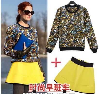 VogaIn 2016 New Fashion Women Tigers Printed Sweatshirt Pullovers + Yellow Mini Skirt Back with zipper 2 pieces set