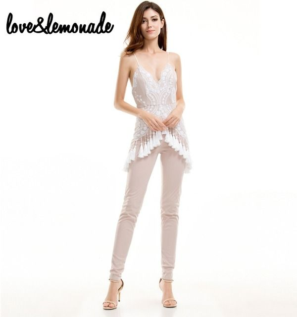 Love&Lemonade  Sexy V-Neck White Sequined Tassels Jumpsuits TB 9612