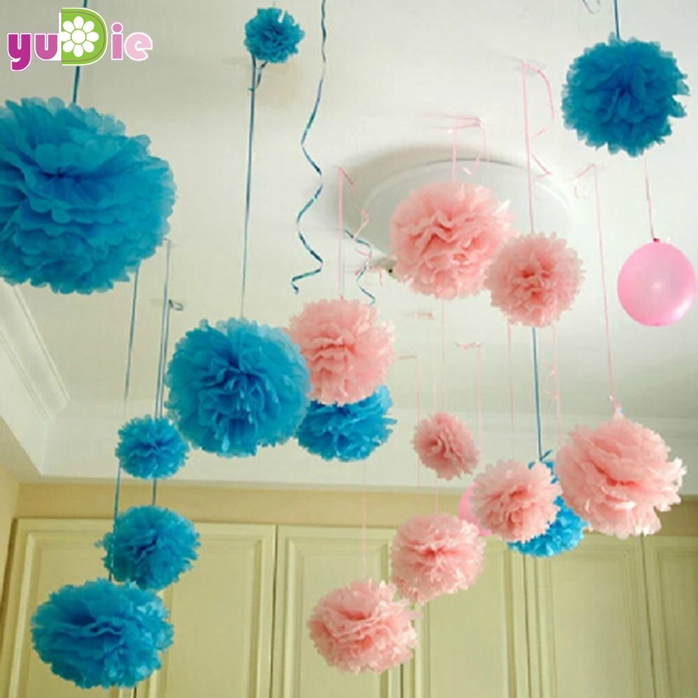 10pcs Paper PomPom Tissue Ball Decorative Supplies Flower For Wedding Home Party Room Banquet Decoration Pompon Craft Products