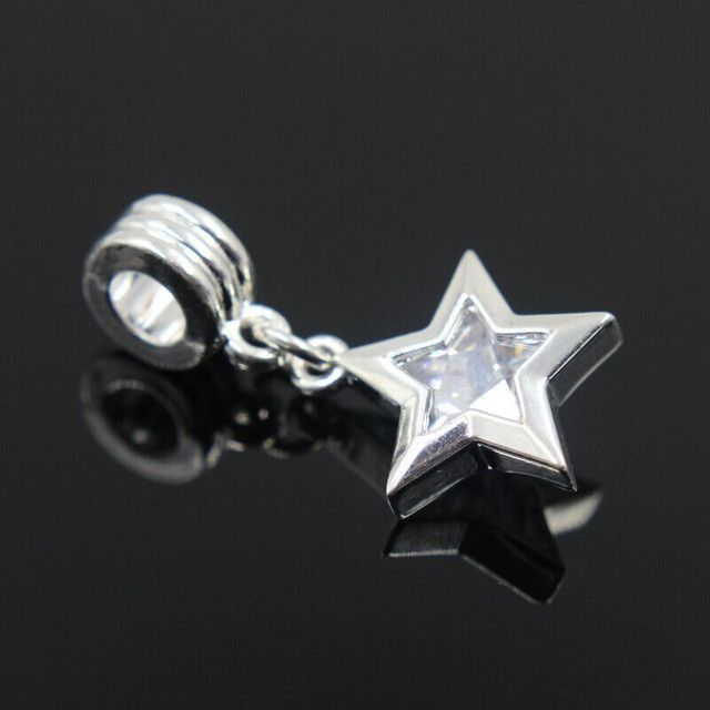AIFEILI New Free Shipping 1Pc Silver Color Bead Charm European With Star Zircon Charm Pendant Bead Fit AFL Bracelet