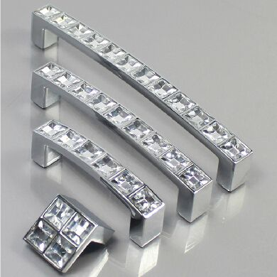 128MM Crystal Diamond Furniture Hardware Handle Sliding Door Drawer Wardrobe Kitchen Cabinets Cupboard Dresser Push Pull Handle