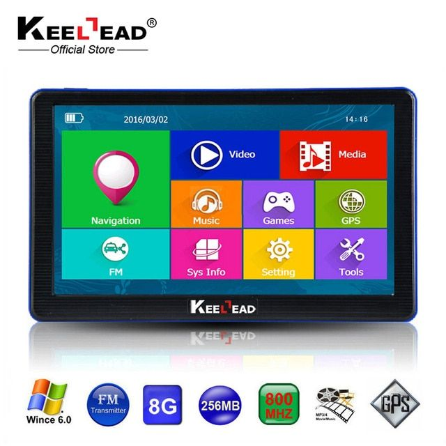 KEELEAD 7 inch Car GPS Navigation Capacitive screen Bluetooth AV-In FM Built in 8GB/256M WinCE 6.0 Map For Europe Truck vehicle
