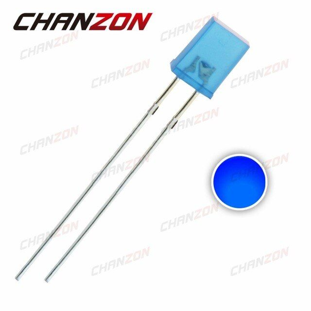 100pcs Rectangle 2X5X7mm Blue Diffused LED Diode Square 20mA DC 3V DIP LED Light Emitting Diode 257 Lamp Electronics Components