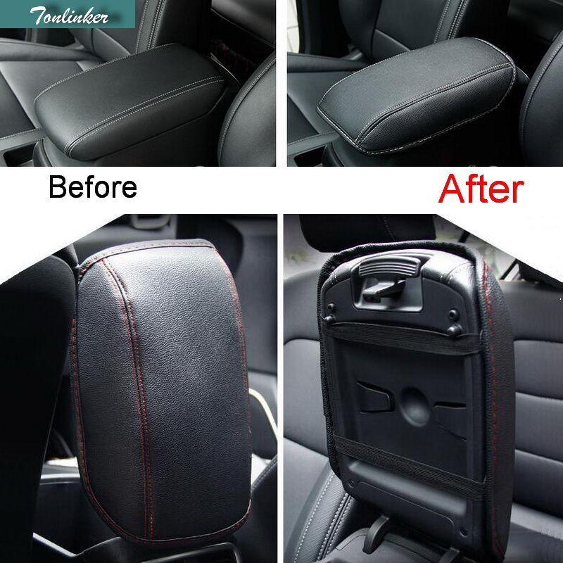 Tonlinker Cover Case Sticker for KIA KX5 2016 Car Chromium Styling 1 PCS PU Leather Armrest decoration holster stickers