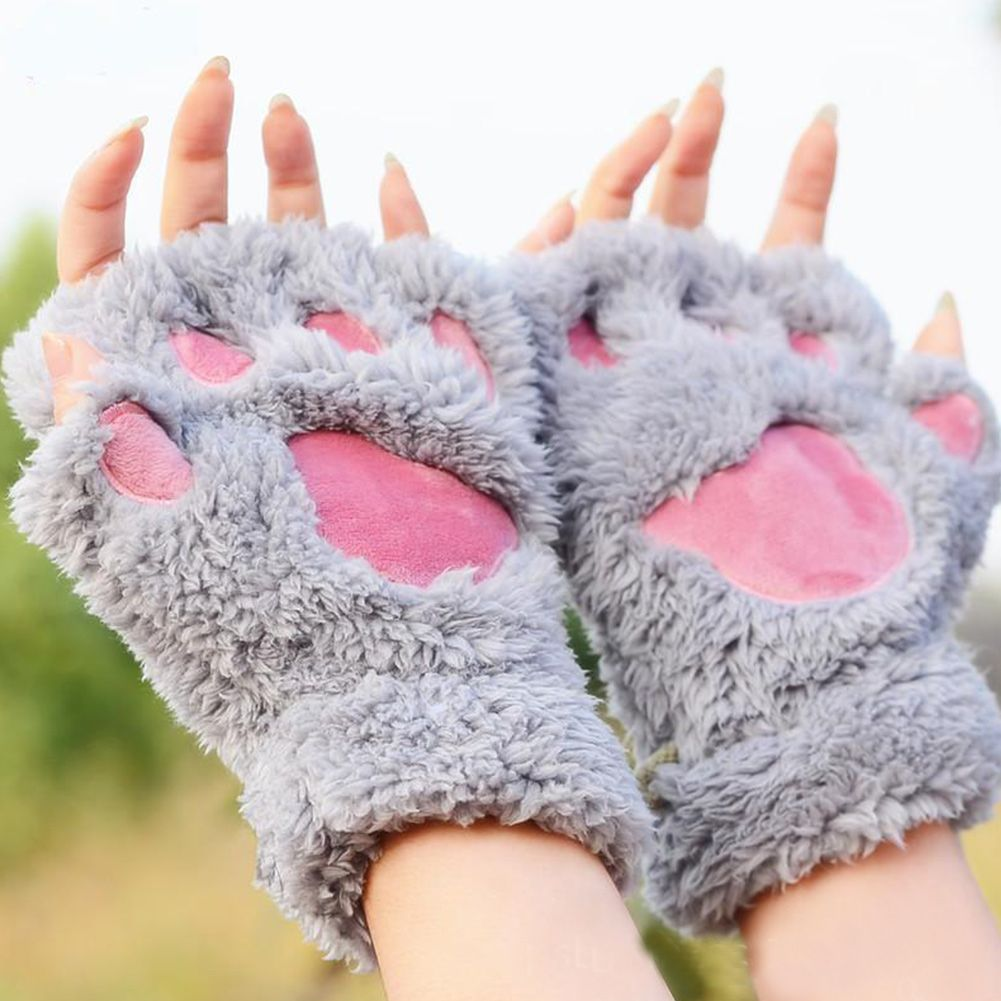 Winter Fingerless Gloves Fluffy Bear Cat Plush Paw Claw Half Finger Glove Soft Half Covered Women Female Gloves Mittens