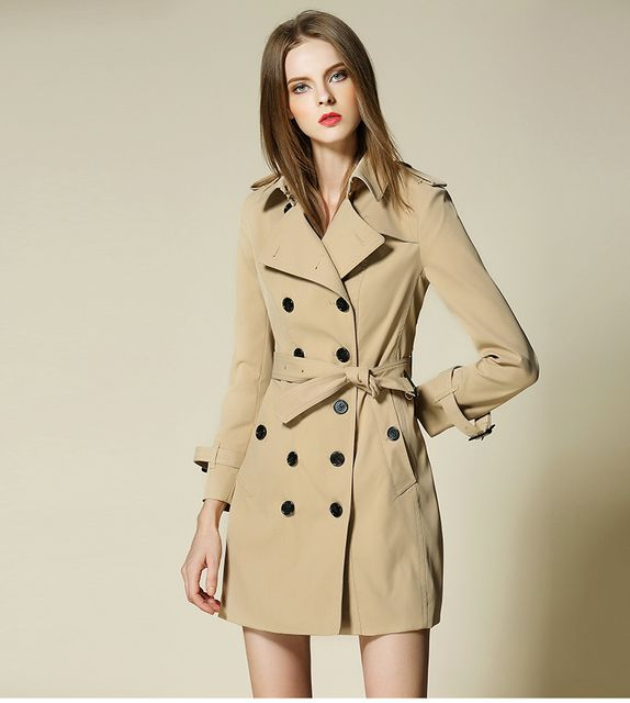 Autumn Trench Coat Women 2017 British Style Trench Outerwear Mid long elegant female overcoat with belt