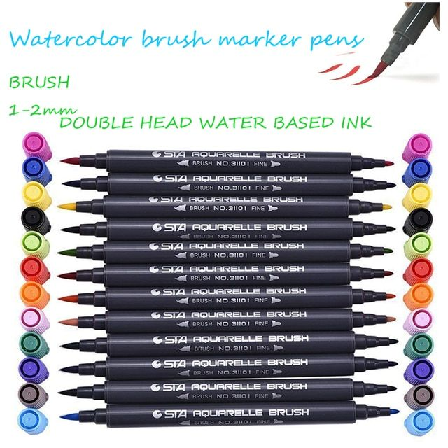 STA 12/24/36/48 Colors Dual Brush Pen Tips Watercolor Markers Pen Artist Soft Brush for Graphic Drawing Manga