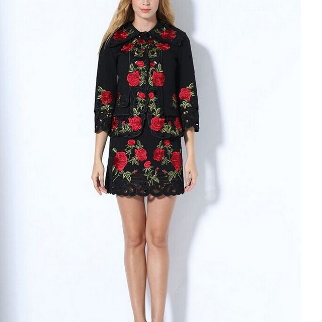 New Arrival Hollow Out Embroidered Short Coat +Mini Skirt Skirt Set 160914M02