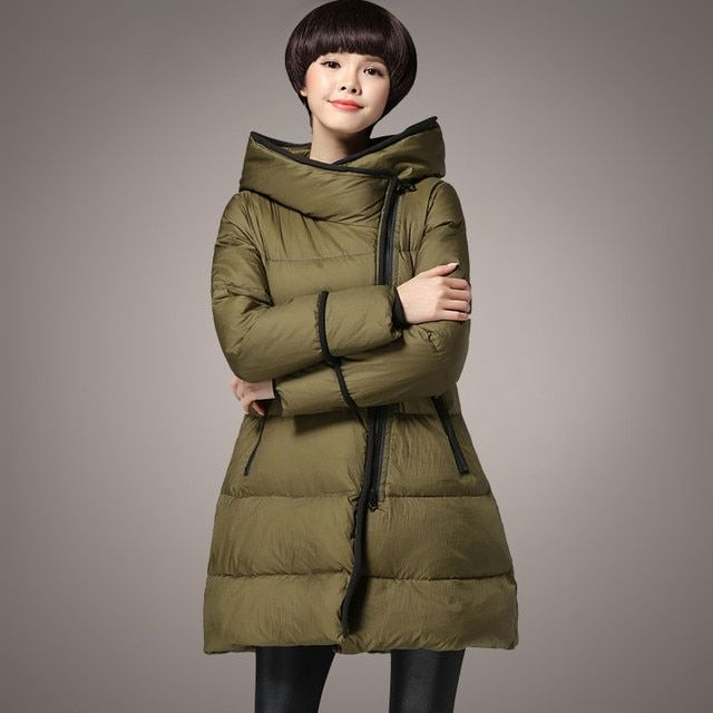 2016 Women Winter Jacket Army Green Thick Warm Down Jackets Coat outwear Hooded Down Parka Snow Wear 3XL Plus size