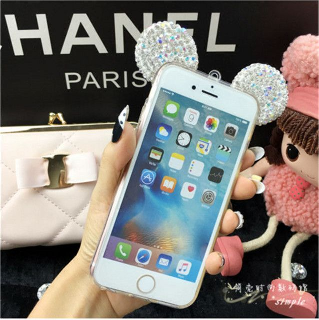 Fashion 3D Mickey mouse Case for SAMSUNG S6 S6EDGE S7 J5 J7 J5 2016 Rhinestone ears Soft Transparent TPU Glitter phone