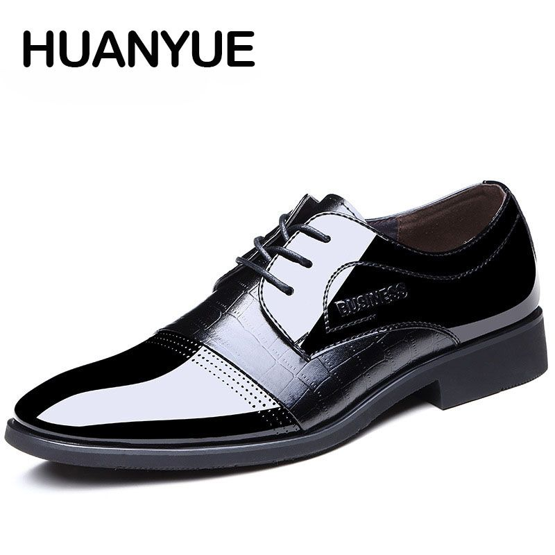 2019 New Men Leather Shoes Fashion Office Pointed Toe Lace Up Business Shoes Black Dress Shoes Formal Oxfords Shoes For Men