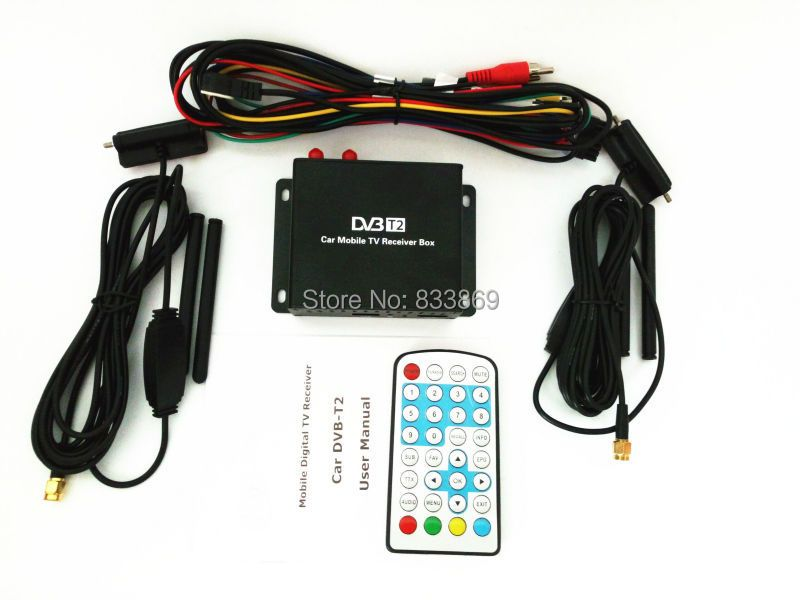 1080P Mobile DVB-T2 Car Digital TV Receiver Real 2 Antenna Speed Up To 160-180km/h DVB T2 Car TV Tuner MPEG4 SD/HD