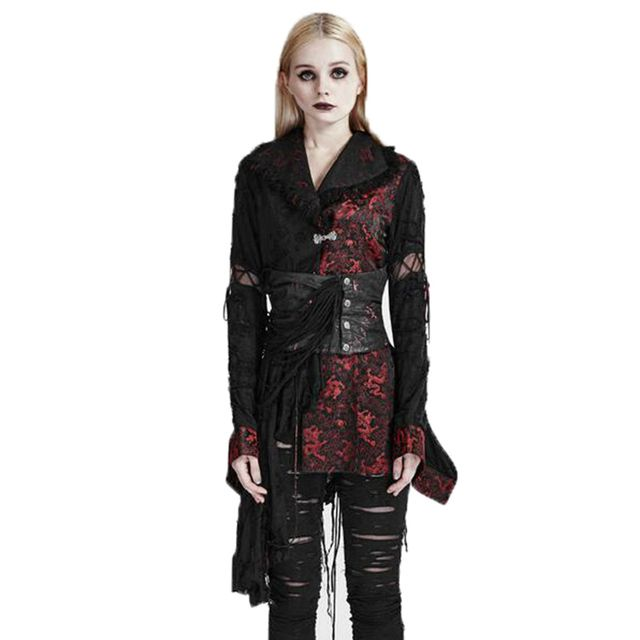 Womens Printed Punk Gothic Lolita Black-red Kimono Dress 2017 Spring Asymmetri Tassel Dresses With Buckle Vintage Style  Q-093
