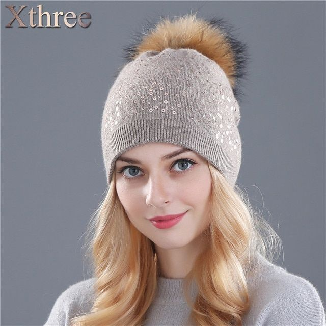 Xthree winter knitting hat for women wool hat beanies 15cm real mink fur pom poms Shiny hat Skullies girls hat