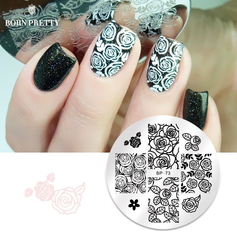 BORN PRETTY Rose Flower Nail Art Stamping Template Image Plate  Nail Stamping Plates Manicure Stencil