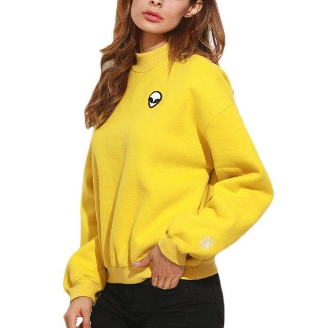 Woman Caual Fall Yellow High Neck Drop Shoulder Embroidered Sweatshirt Tops