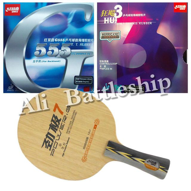 Original DHS POWER.G7 blade + Hurricane3 and G555 rubber with sponge for a table tennis racket Long Shakehand FL