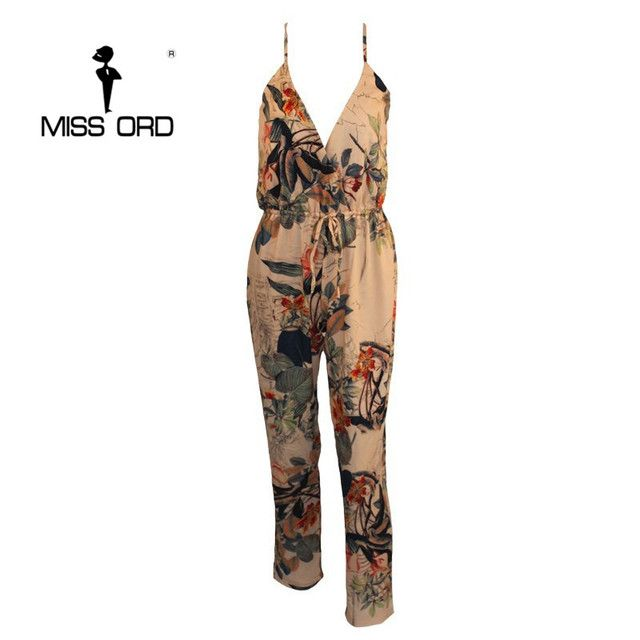 Free Shipping  2017 Sexy V-neck sleeveless printing  jumpsuit  FT2297